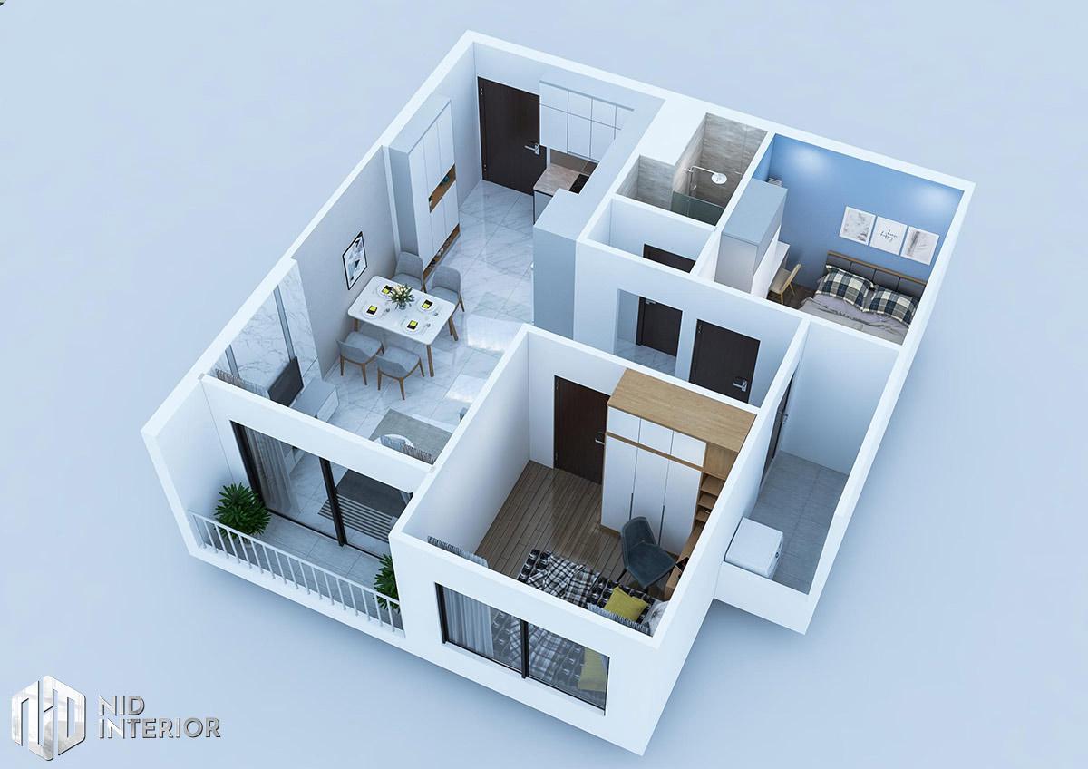Thiết kế nội thất căn hộ 2 phòng ngủ - Mặt bằng