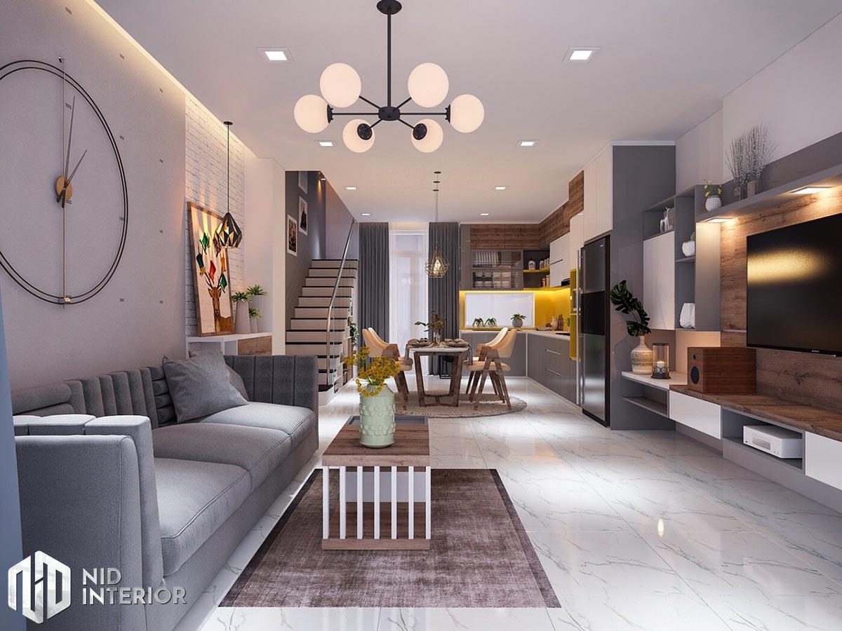 Thiết kế nội thất nhà phố 4mx18m -Phòng khách