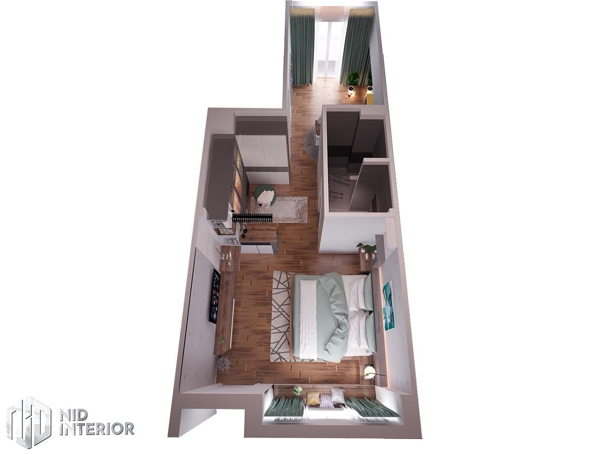 Thiết kế nội thất nhà phố 4mx18m - Mặt bằng trệt