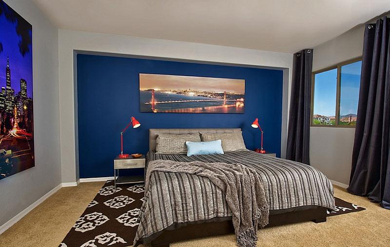 Phòng ngủ màu xanh lam