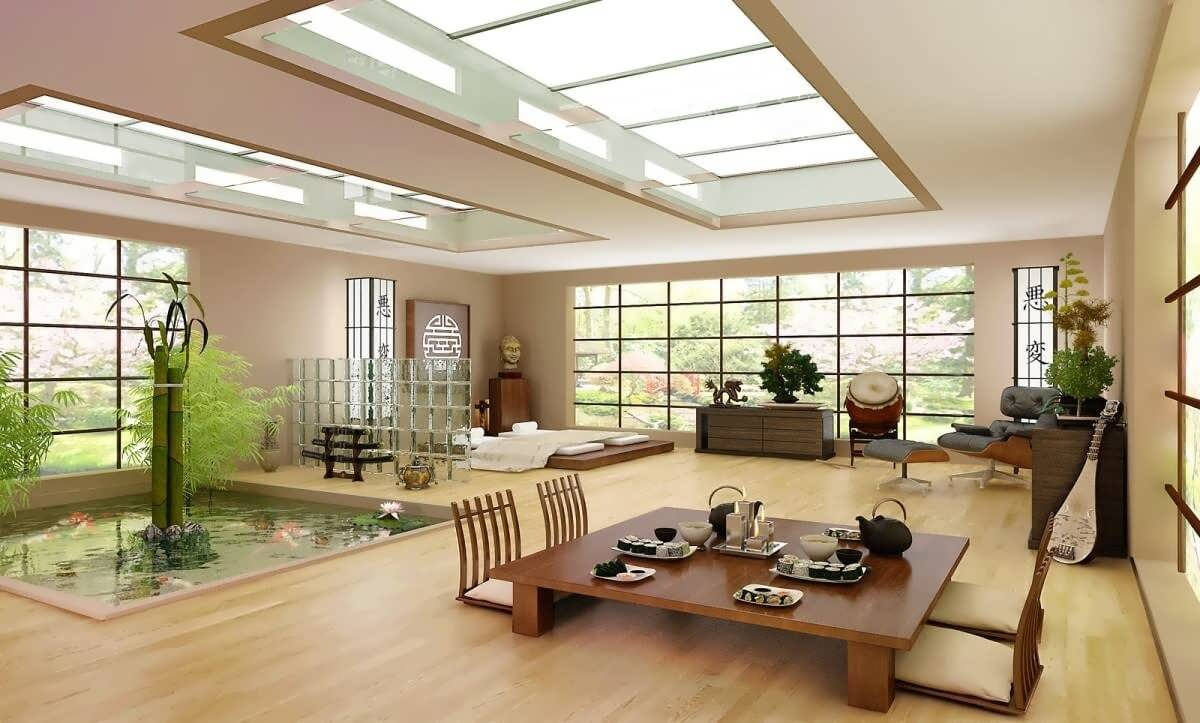 Không gian rộng lớn của căn phòng nội thất Nhật Bản
