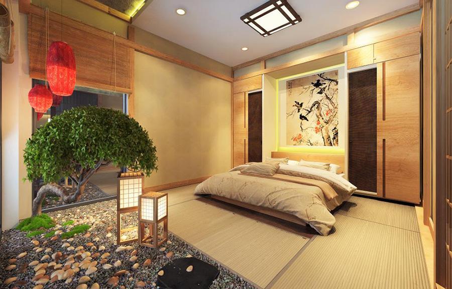 Trang trí ấn tượng với phòng ngủ được thiết kế theo phong cách Nhật