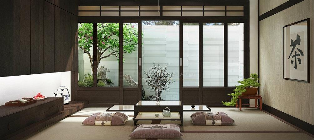 Không gian phòng khách Nhật Bản được trang trí đơn giản