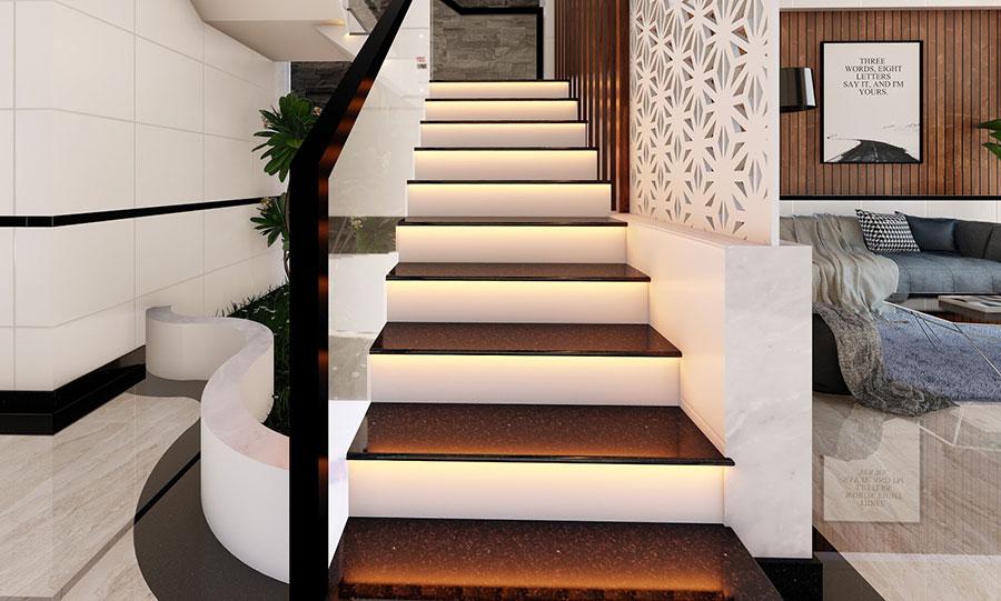 Cầu thang mặt đá và đèn điện
