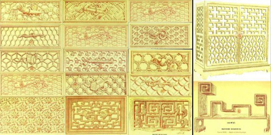 Họa tiết hình chữ nhật trong phong cách Đông Dương
