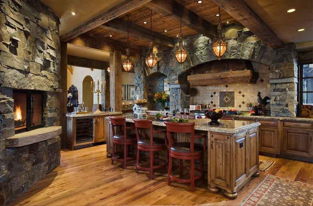 Phong cách Rustic thường sử dụng vật liệu gỗ thô và đá