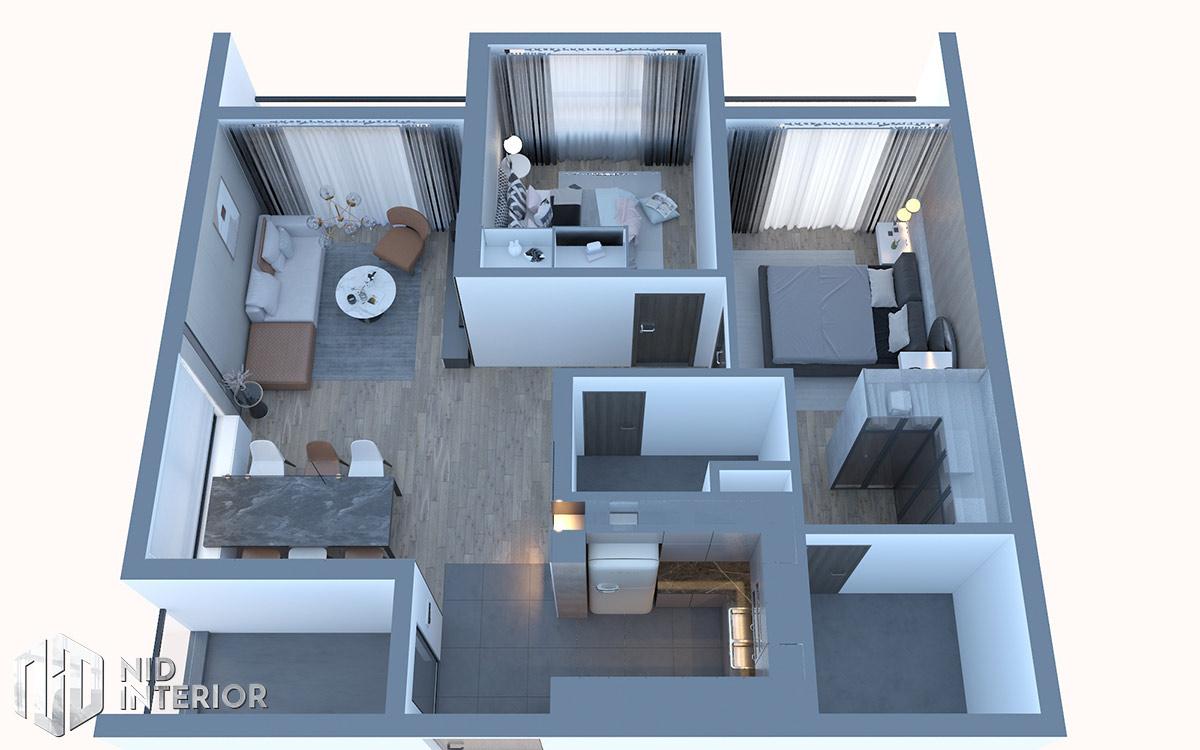 Thiết kế nội thất căn hộ Diamond Celadon City - Mặt bằng