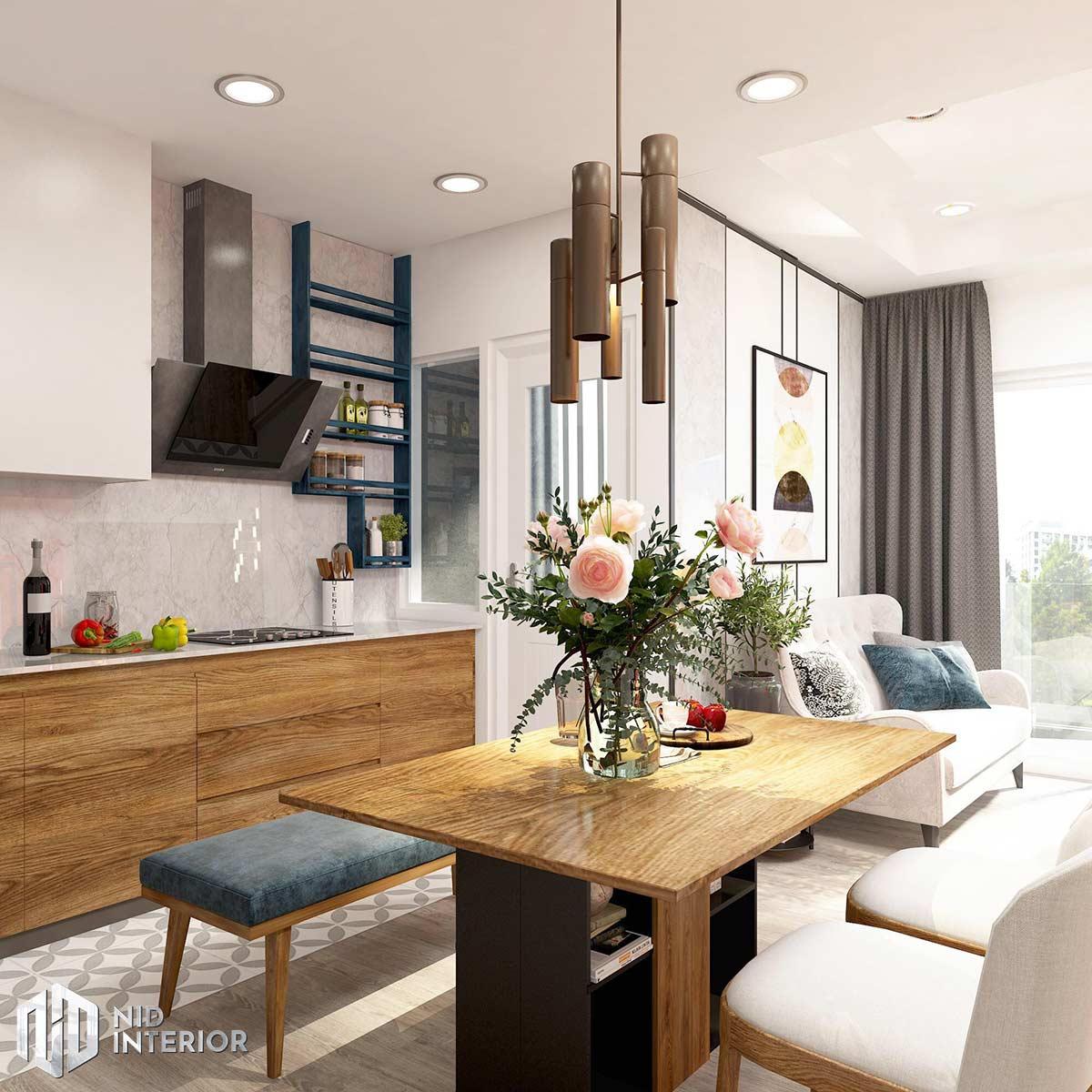 Thiết kế nội thất căn hộ Palm Heights - Khu bếp và phòng khách