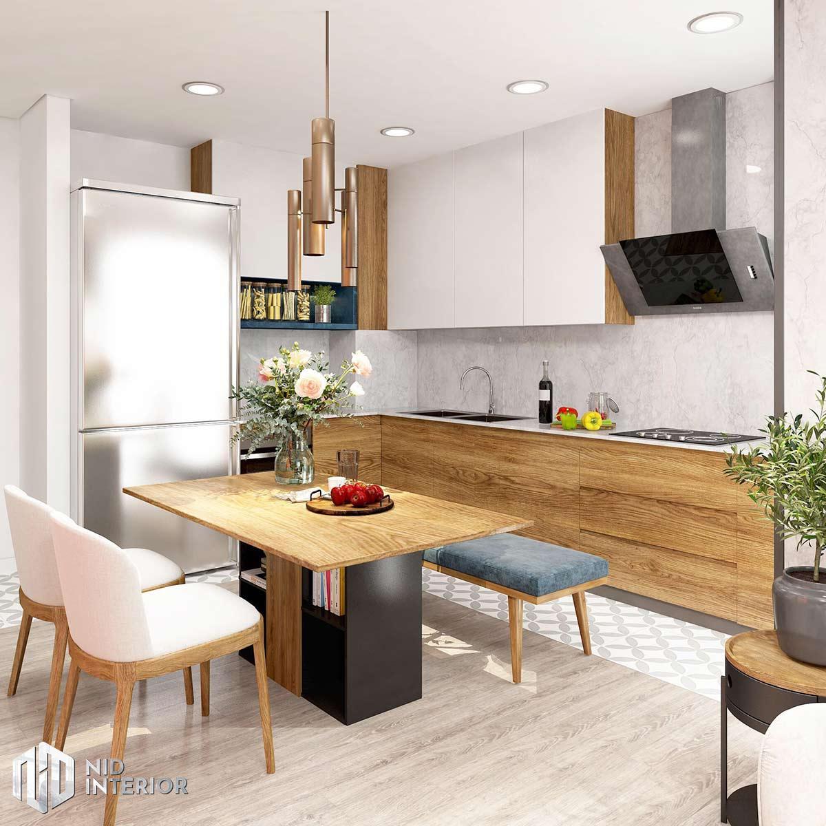Thiết kế nội thất căn hộ Palm Heights - Khu bàn ăn và bếp