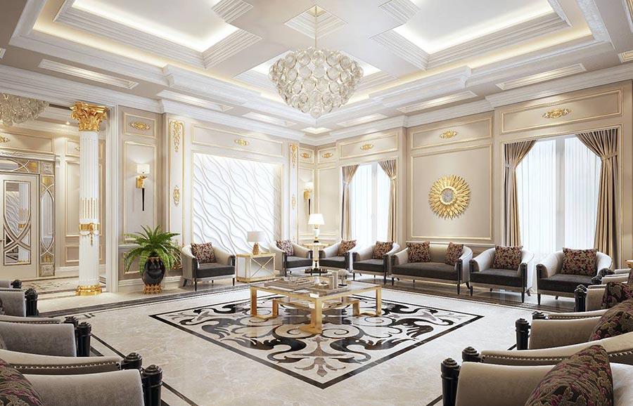 Phòng khách cổ điển được trang trí bằng những phụ kiện cực kỳ sang trọng
