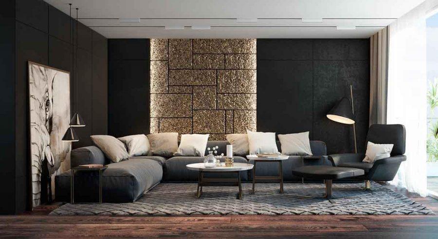 Thay vì tập trung vào màu sắc của bức tường ánh kim, hãy nghĩ về kết cấu ấn tượng của căn phòng khách này