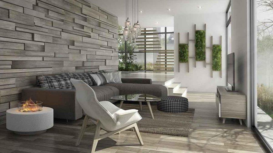 Thiết kế phòng khách đẹp trang nhã bằng cách sử dụng các hình dạng và chiều sâu khác nhau