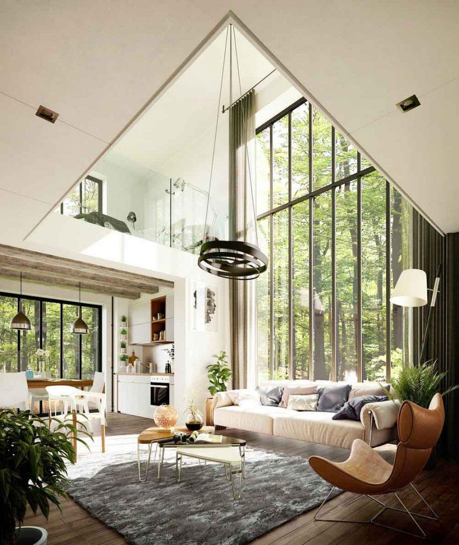Thiết kế phòng khách đẹp, ấn tượng với cửa kính lớn phía sau