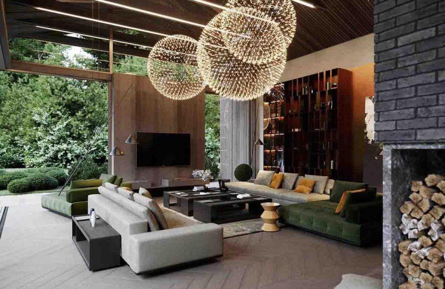Sự sắp xếp ánh sáng đặc biệt với các kích thước khác nhau giống như một màn bắn pháo hoa ăn mừng ngay trong phòng khách