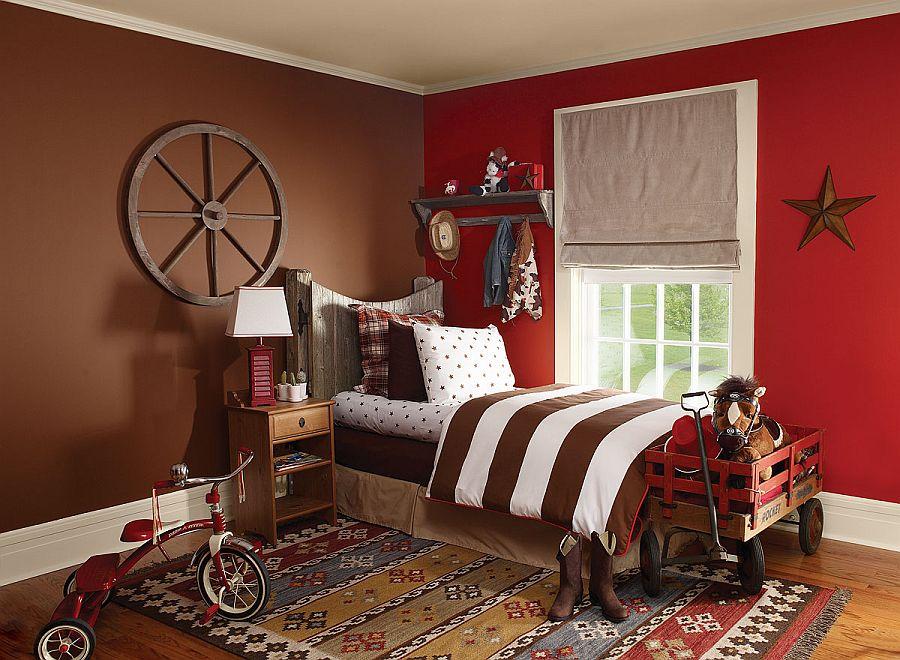 Thiết kế phòng ngủ bé trai độc đáo với gam màu đỏ