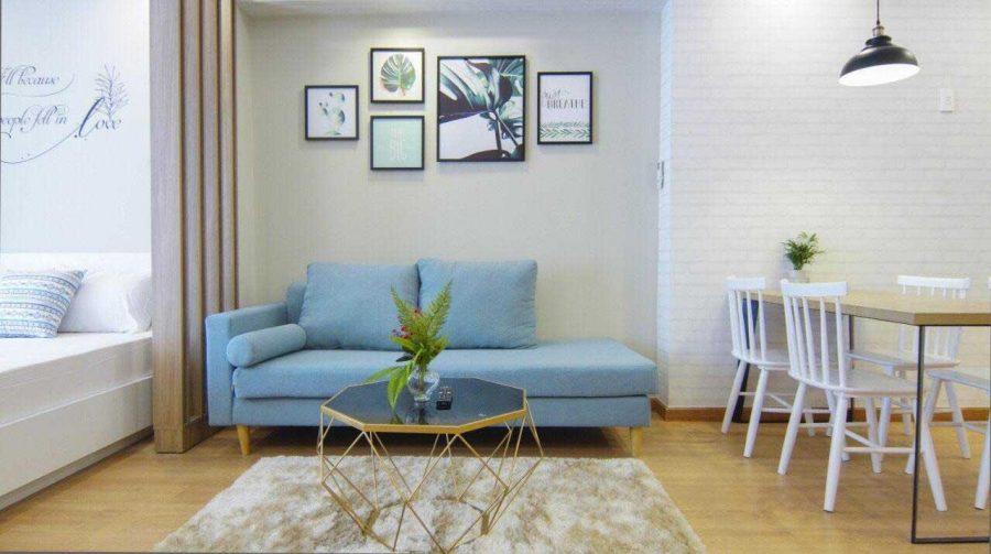 Một căn hộ Studio điển hình thường bao gồm có các khu vực để ngủ, khu vực tiếp khách và khu vực bếp