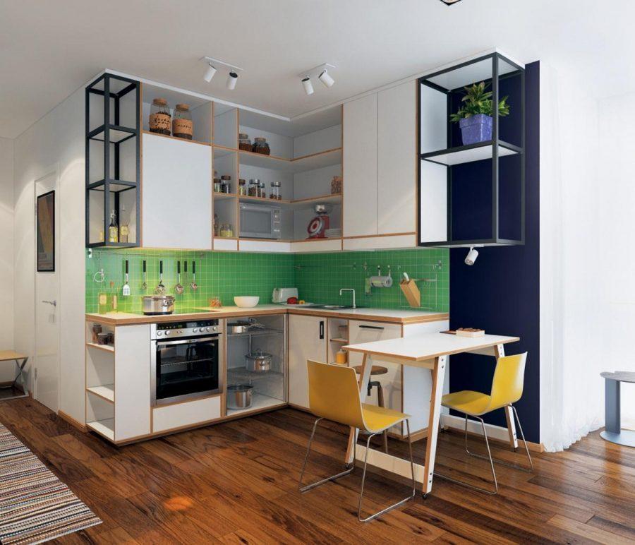 Khu vực bếp nhỏ gọn với màu sắc tươi sáng