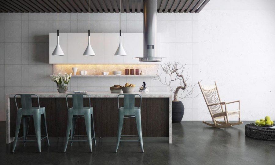 Những chiếc ghế đẩu lấy cảm hứng từ Tolix dường như phù hợp với sự tinh của căn bếp