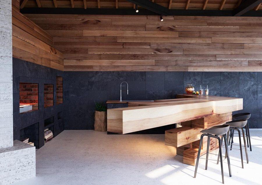 Nhà bếp độc đáo với chất liệu gỗ tự nhiên