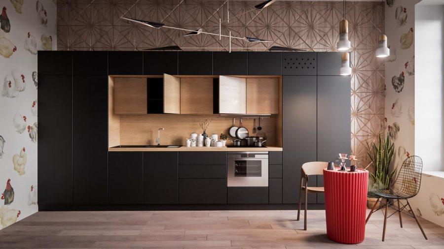 Một ví dụ tuyệt đẹp về tính đối xứng của tủ, đó là màu đen và gỗ