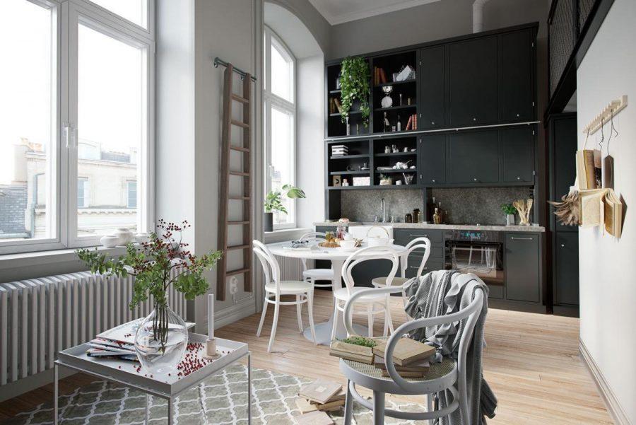 Khu vực phòng bếp và bàn ăn gần nhau rất tiện ích