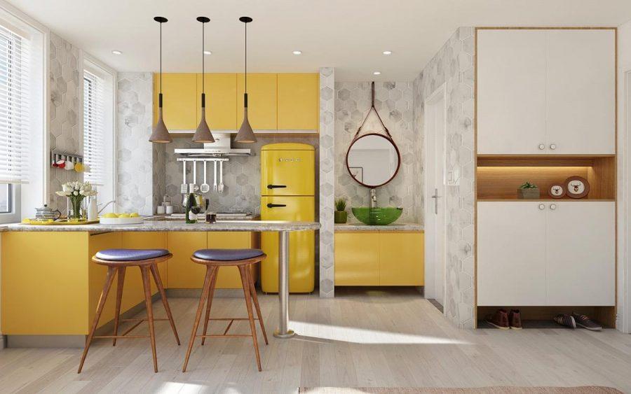 Nhà bếp được phối hợp màu sắc cực ấn tượng và không hề bị chênh phô