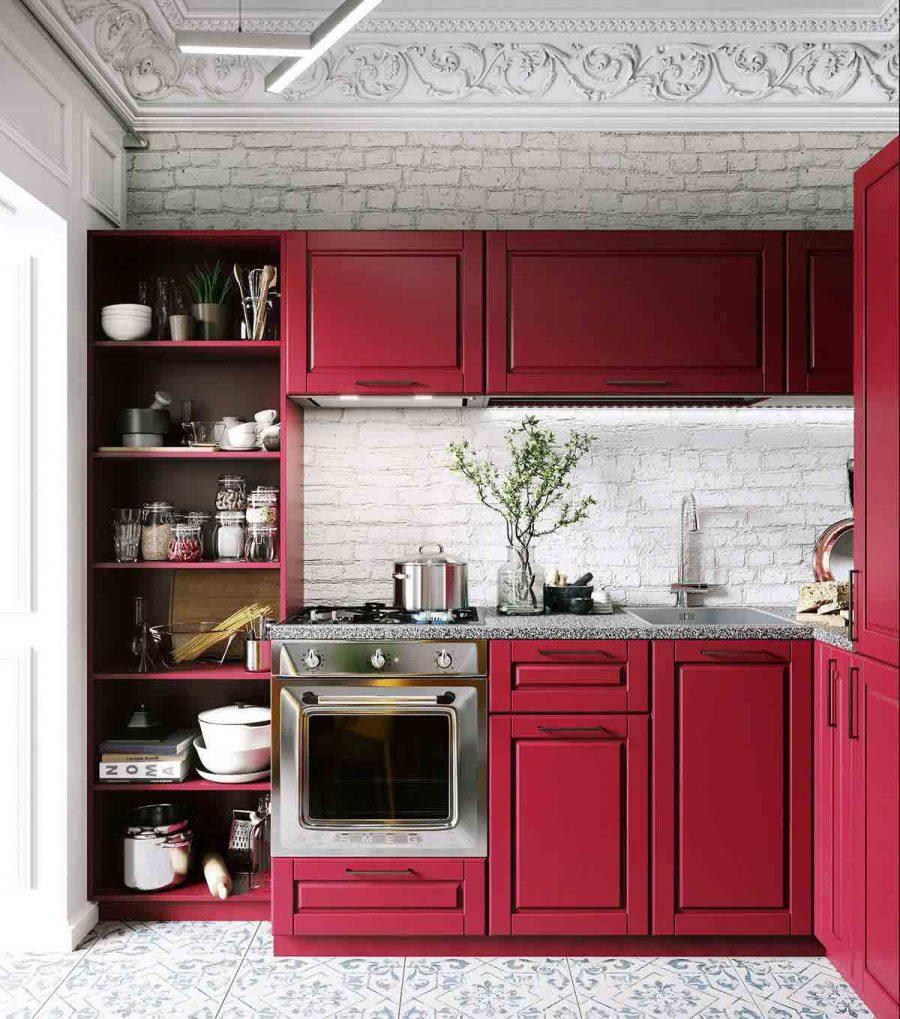 Thiết kế bếp đẹp có một giá đỡ mở chứa đầy đồ dùng để đựng thức ăn vừa hữu ích vừa trang trí