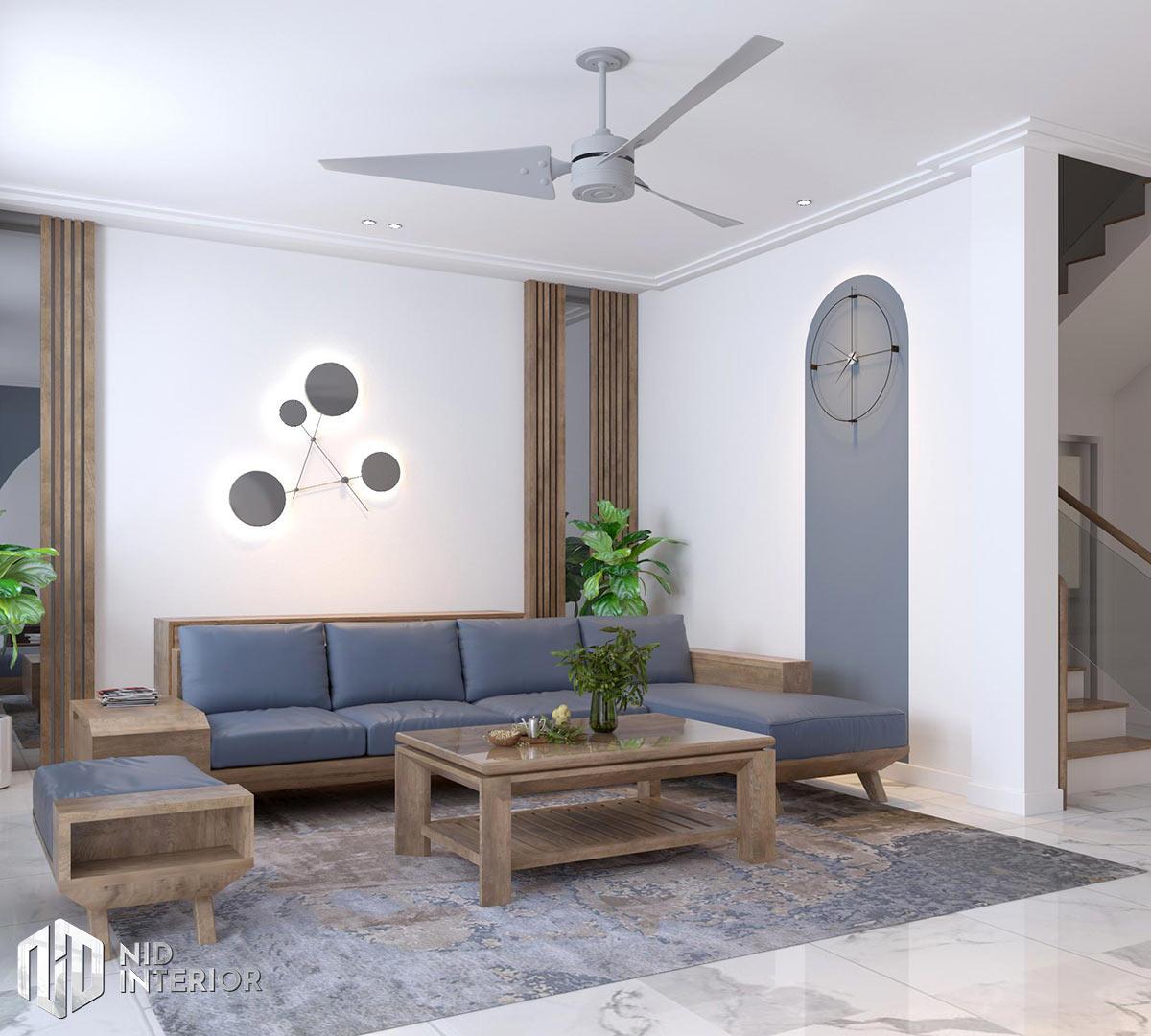 Thiết kế kiến trúc nội thất biệt thự phố 300m2 - Phòng khách chính