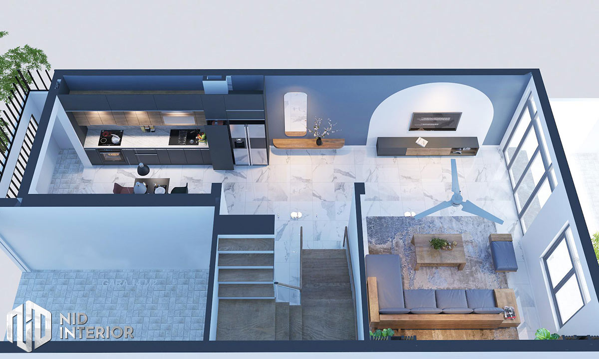 Thiết kế kiến trúc nội thất biệt thự phố 300m2 - Mặt bằng tầng triệt