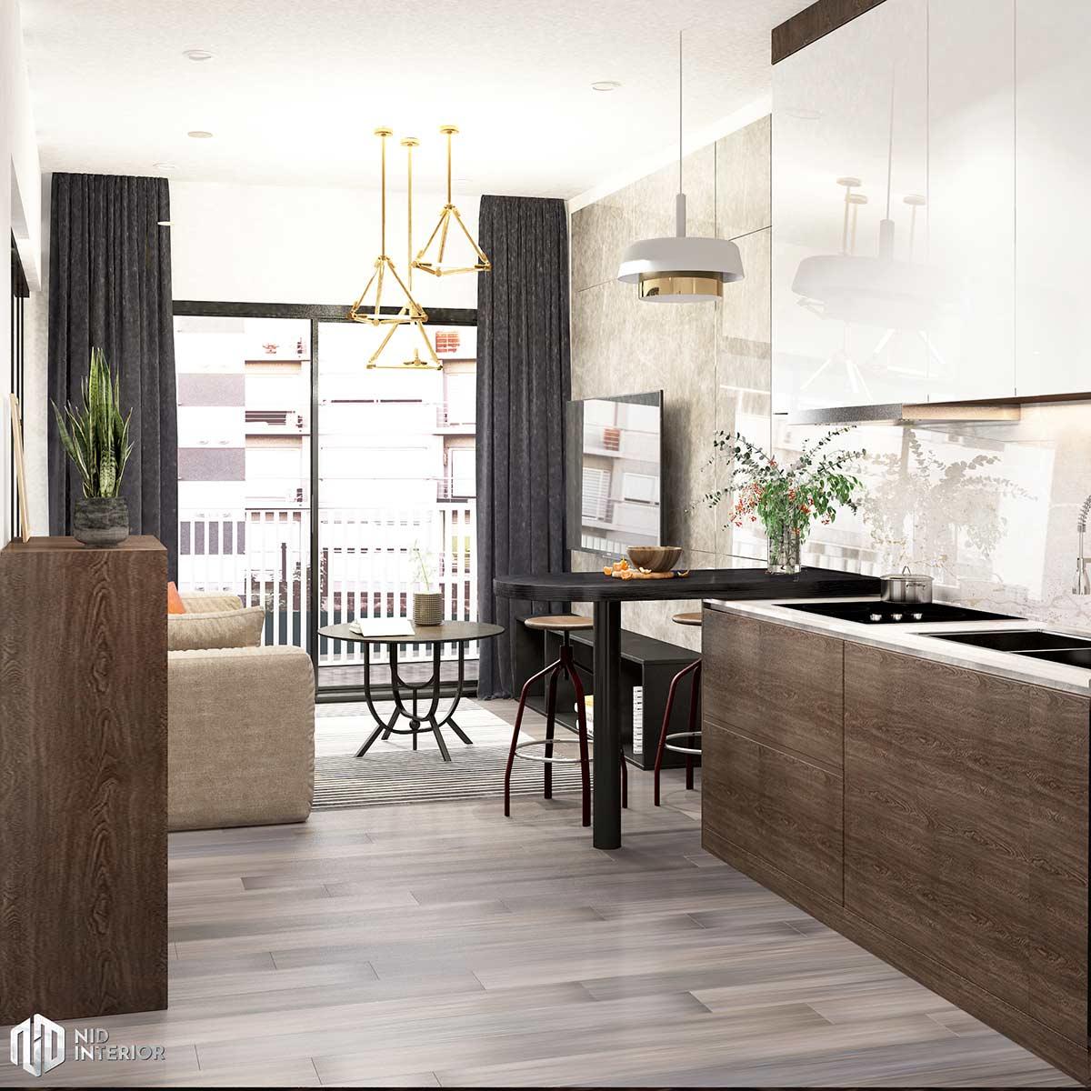Thiết kế nội thất căn hộ Vinhomes Grand Park 50m2 - Bếp