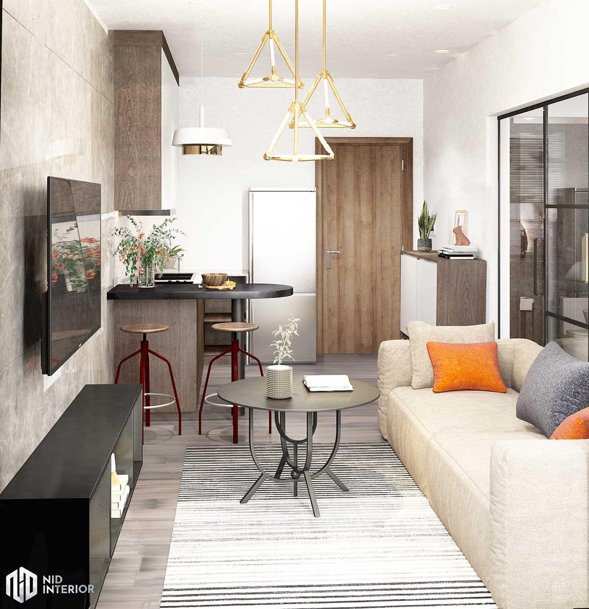 Thiết kế nội thất căn hộ Vinhomes Grand Park 50m2 - Phòng khách