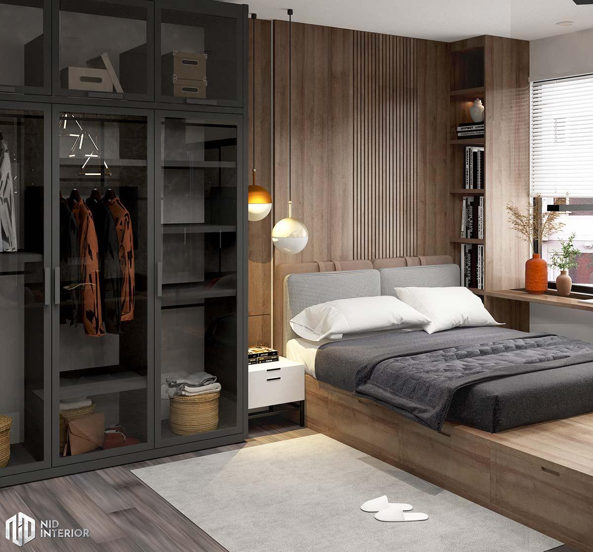 Thiết kế nội thất căn hộ Vinhomes Grand Park 50m2 - Phòng ngủ