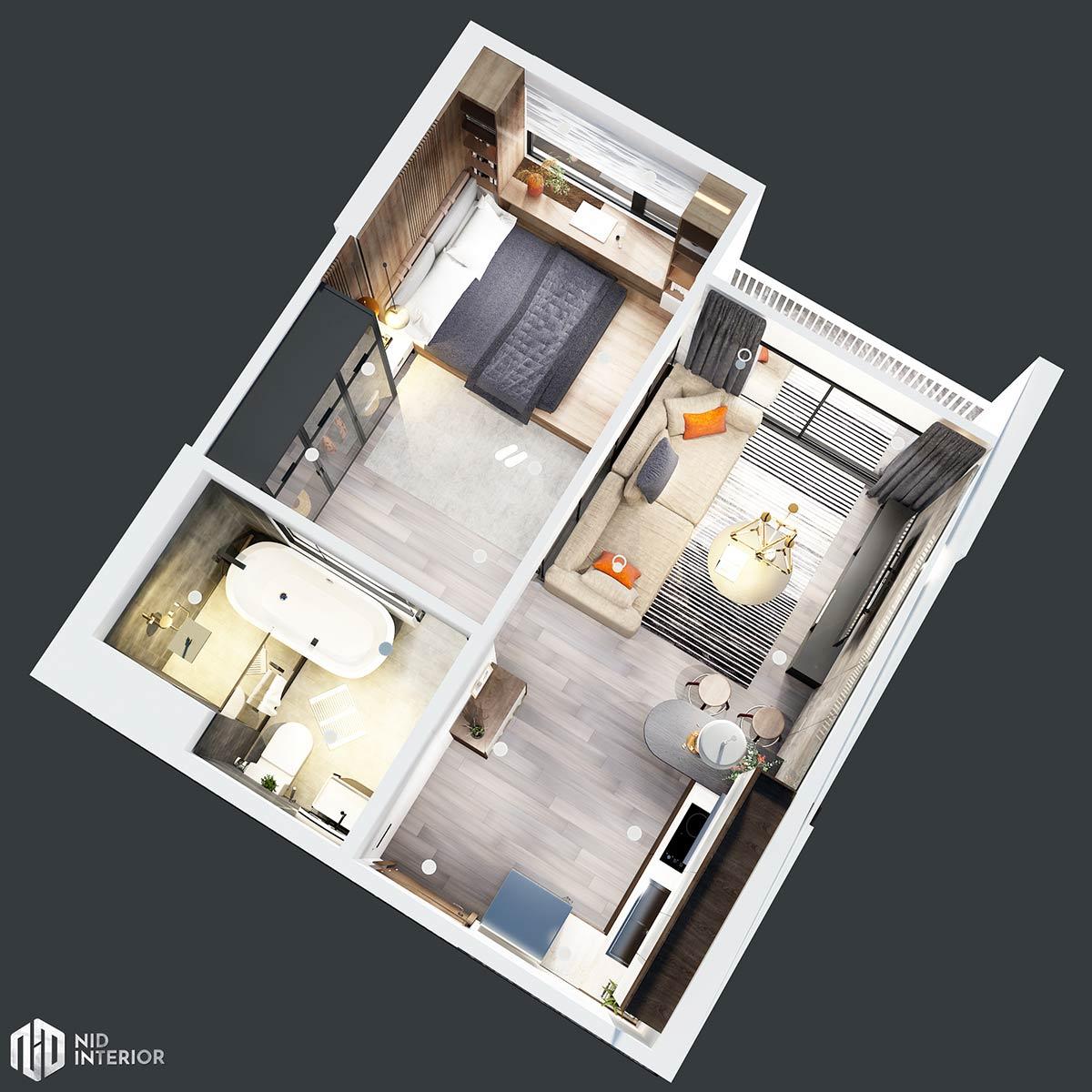 Thiết kế nội thất căn hộ Vinhomes Grand Park 50m2 - Mặt bằng