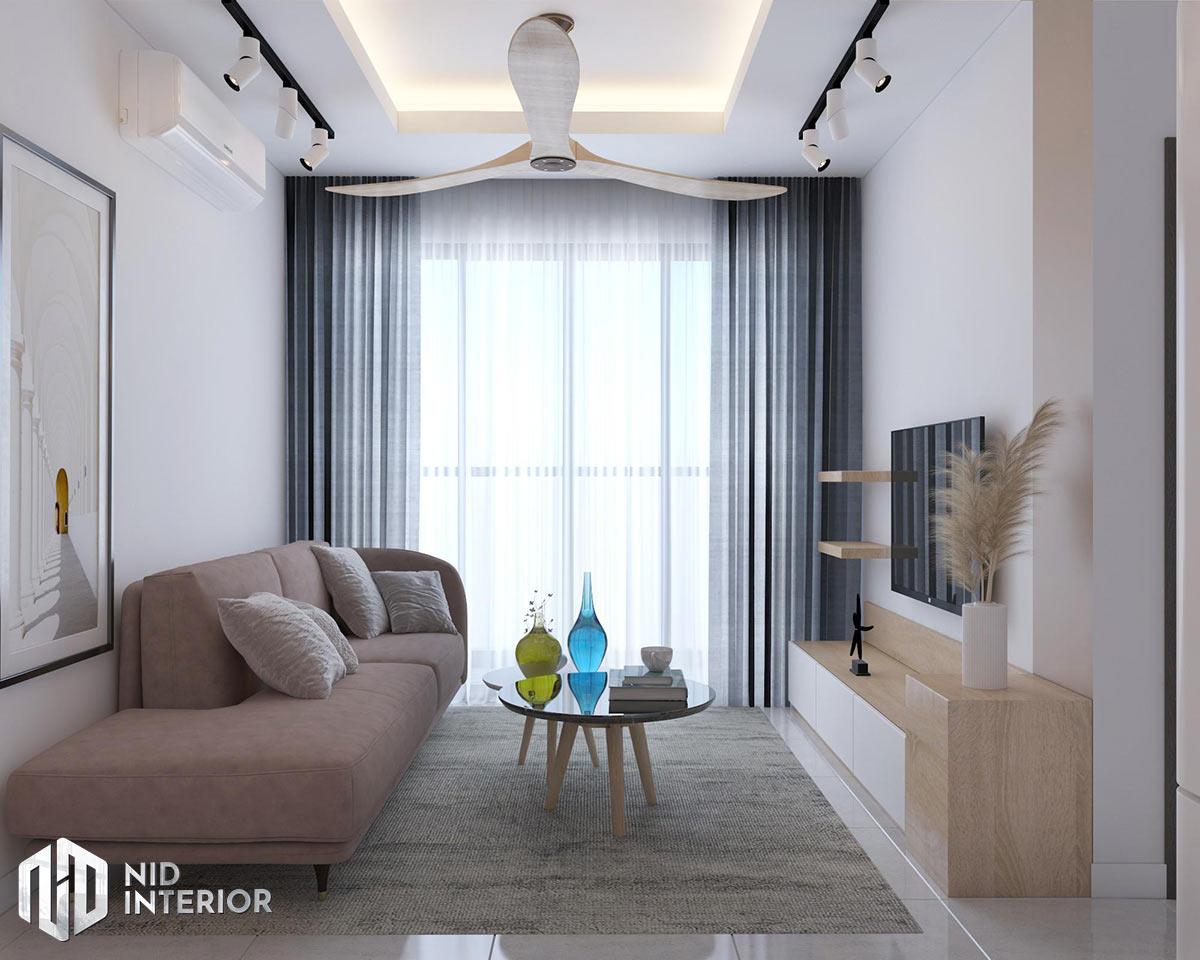 Thiết kế nội thất căn hộ Vinhomes Grand Park 53m2 - Phòng khách