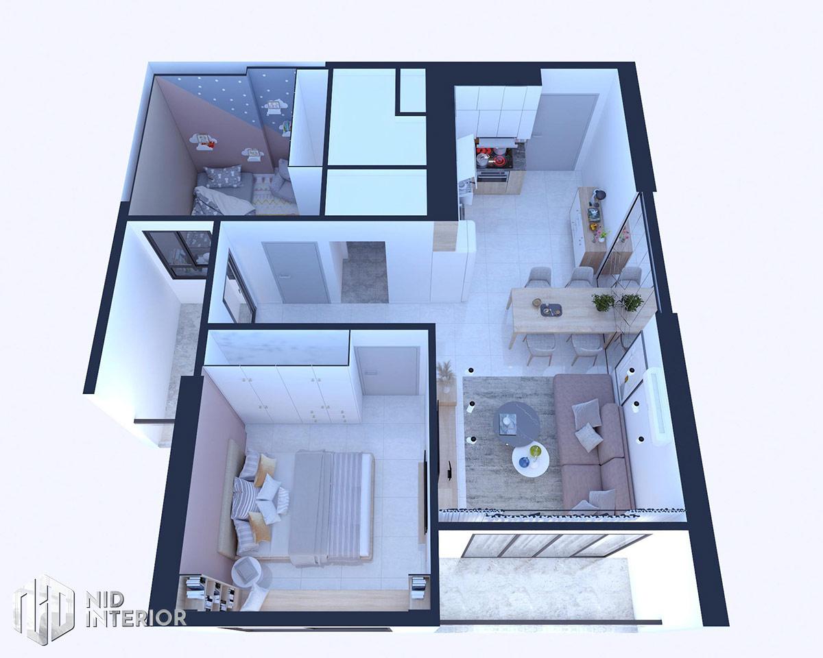Thiết kế nội thất căn hộ Vinhomes Grand Park 53m2 - Mặt bằng