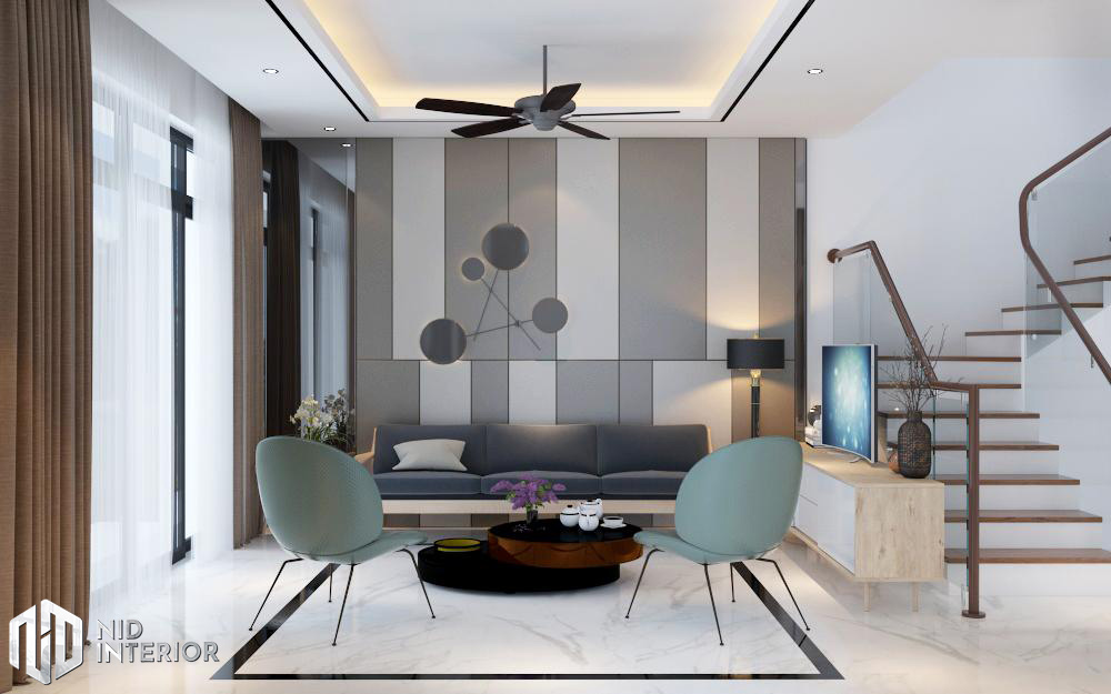 Thiết kế nội thất nhà phố Vũng Tàu 250m2 - Phòng khách