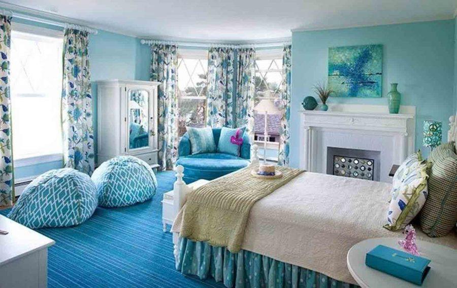 Sắc xanh tràn ngập căn phòng ngủ