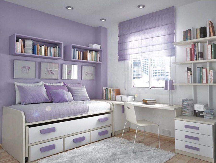 Thiết kế phòng ngủ bé gái màu xanh trắng đơn giản và tinh tế