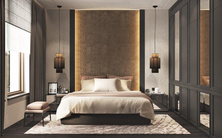 Căn phòng này có nhiều lớp đèn cho các mục đích khác nhau - các mặt dây chuyền phòng ngủ thiết thực nhưng độc đáo như đèn chiếu sáng tác vụ, với ánh sáng tâm trạng gián tiếp nhẹ nhàng hơn tỏa ra từ bức tường nổi bật.