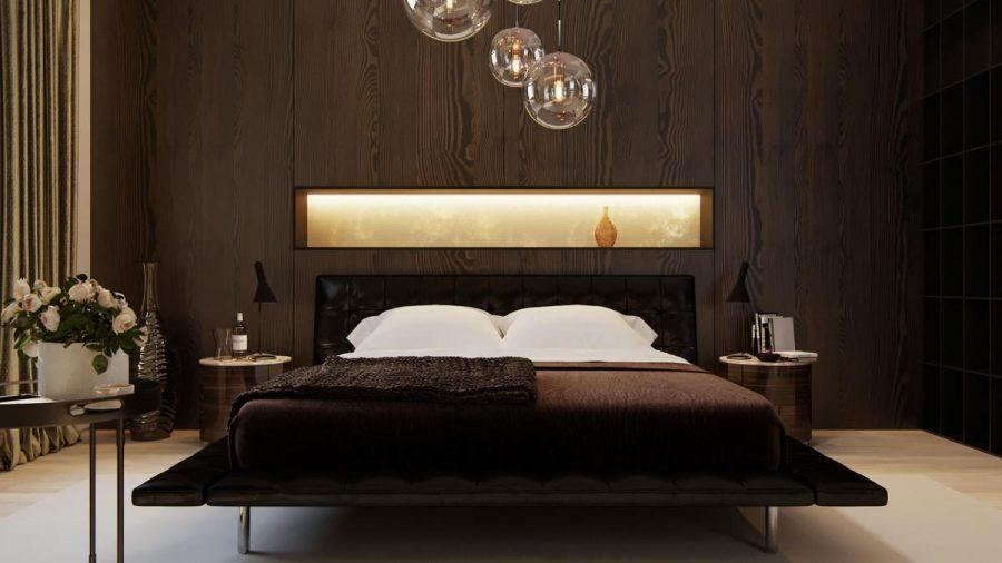 Căn phòng với hệ thống chiếu sáng đầy nghệ thuật cùng màu sắc trầm tĩnh cực thích hợp để nghỉ ngơi