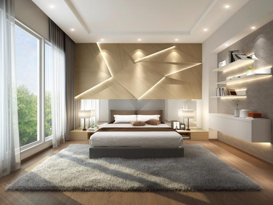 Phòng ngủ hiện đại với hệ thống chiếu sáng được thiết kế theo dạng hình học cực ấn tượng