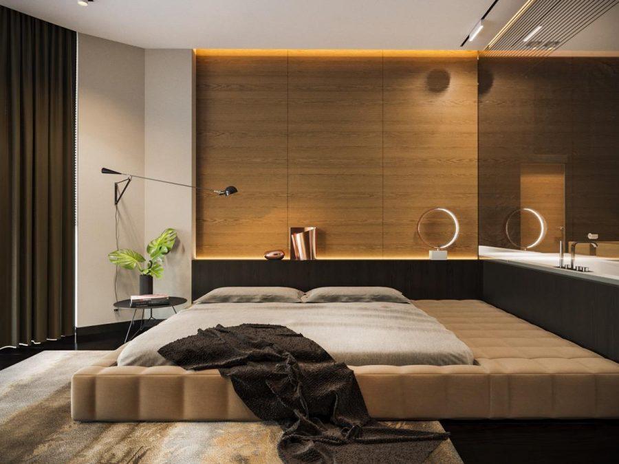 Thiết kế tường gỗ này có kiểu dáng đẹp, tinh tế và tạo thêm sự hấp dẫn tự nhiên ấm áp cho phòng ngủ
