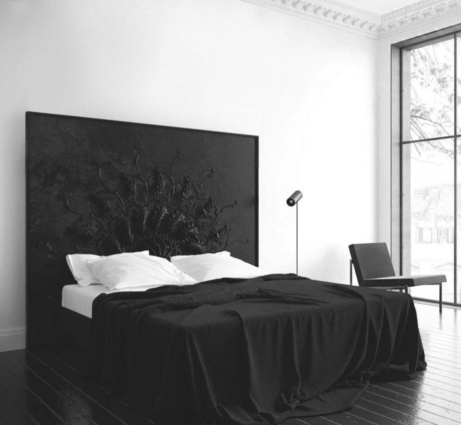 Phòng ngủ màu đen và trắng này thậm chí không cần các tấm tường cao cấp. Bởi đầu giường độc đáo của nó là trung tâm của thiết kế
