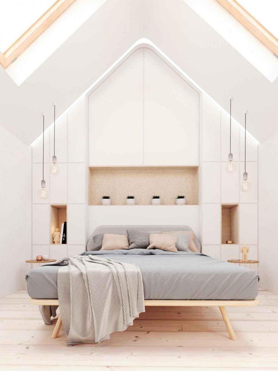 Thật là một phòng ngủ quyến rũ! Các góc của khung giường khéo léo lặp lại hình dạng của tường và trần nhà.
