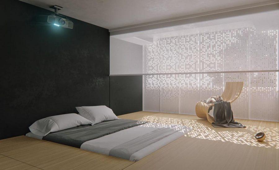 Phòng ngủ đơn giản với ánh sáng tự nhiên cực linh hoạt