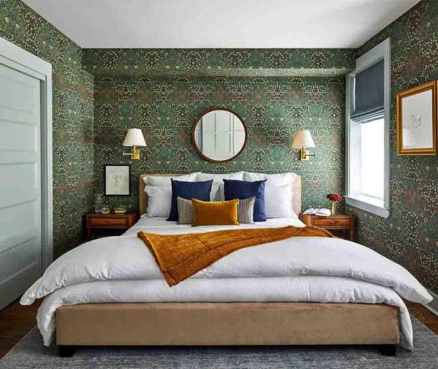 Thiết kế phòng ngủ đẹp với giấy dán tường có họa tiết ấn tượng