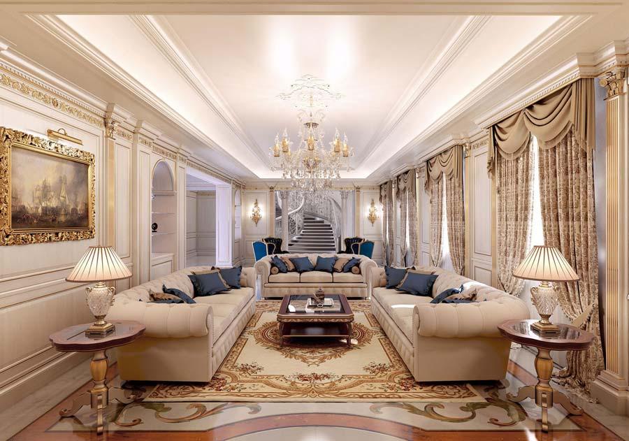 Một trong những phòng khách cổ điển nổi bật với không gian lớn