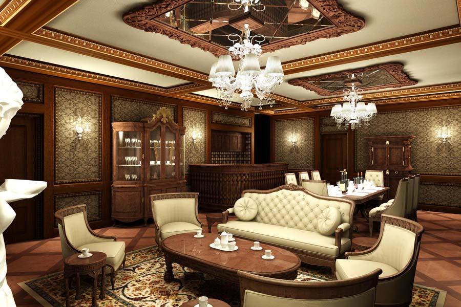 Phòng khách cổ điển theo phong cách kiểu Trung Quốc