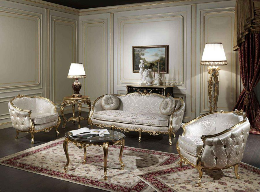 Phòng khách cổ điển với thảm trải sàn làm điểm nhấn