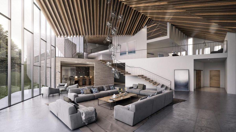 Phòng khách này có trần nhà vượt quá giới hạn kiến trúc, kết hợp với một dãy đèn bong bóng lủng lẳng ngay phía chính giữa